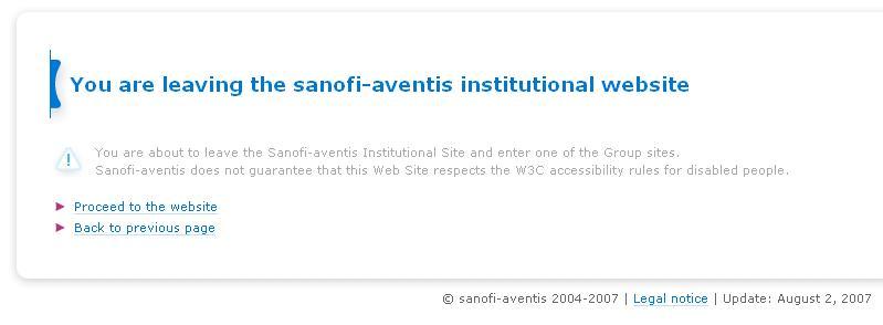 Pharma Web Branding, Part 6 – Sanofi-Aventis